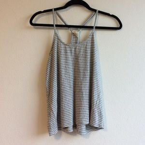 Gray and white striped tank